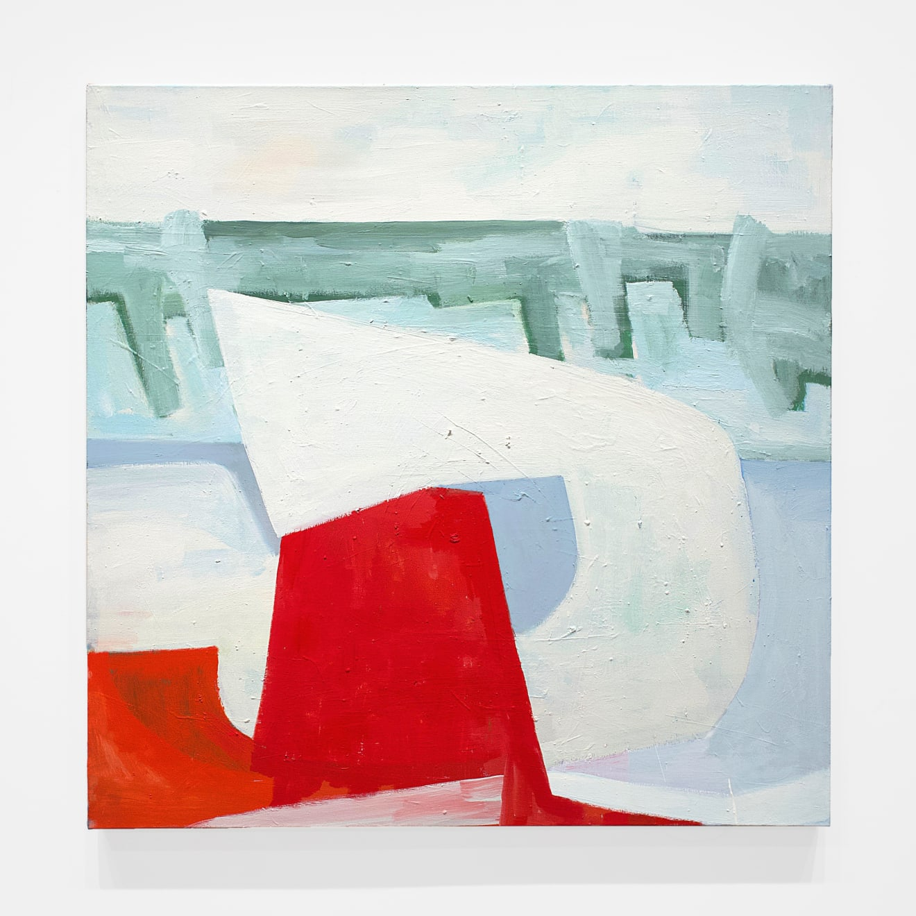 Maria Merrill chooses: David Aylsworth, Night Water, 2017 I love this piece. It just makes me happy. The fabulous red form in contrast to the ice blue, green and white. The suggestion of landscape, the playfulness, the space, forms and shapes give me a feeling of joy, of movement, the embrace of something good. (And the fact that the painting is square and large makes it that much better. How can one resist the wonderful marks, and textures of David swooshing his brush around?) David Aylsworth Night Water, 2017 oil on canvas 48 x 48 in (121.9 x 121.9 cm) DA 683 $10,000