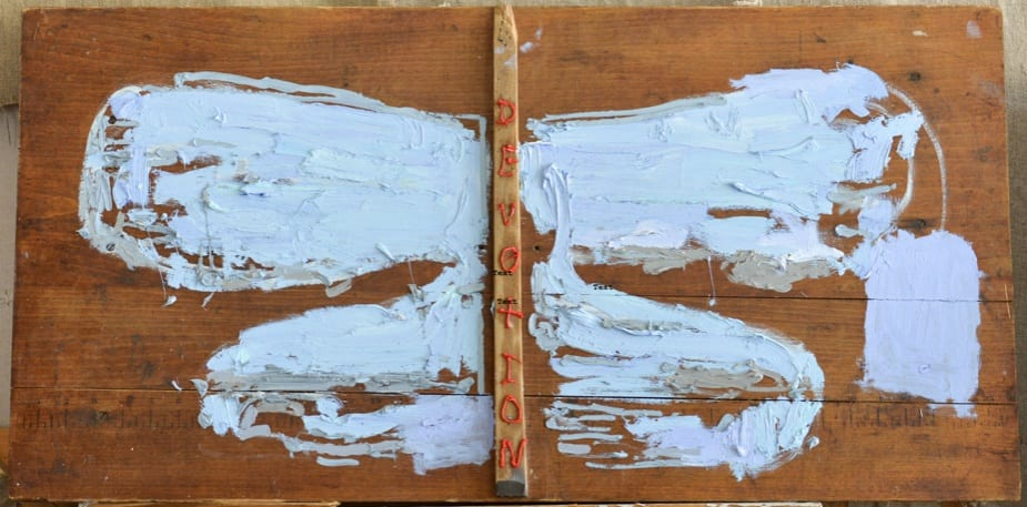 Peter Gallo, Blue Butterfly of Devotion, 2018-2019 oil, wood on sewing table top, 18 x 26 in