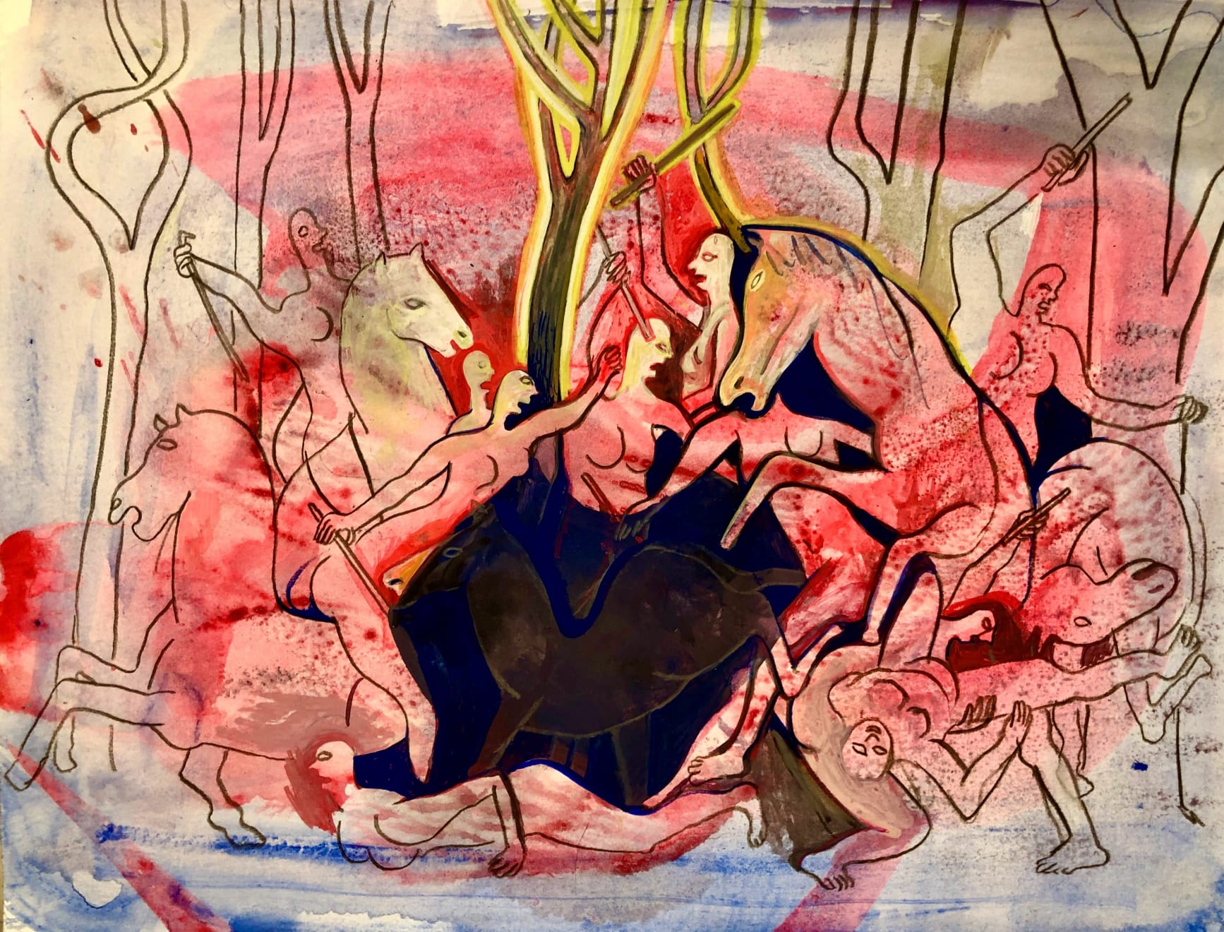 Jennifer Coates, Battle of the Amazons, 2020 gouache and colored pencil on paper, 9 x 12 in