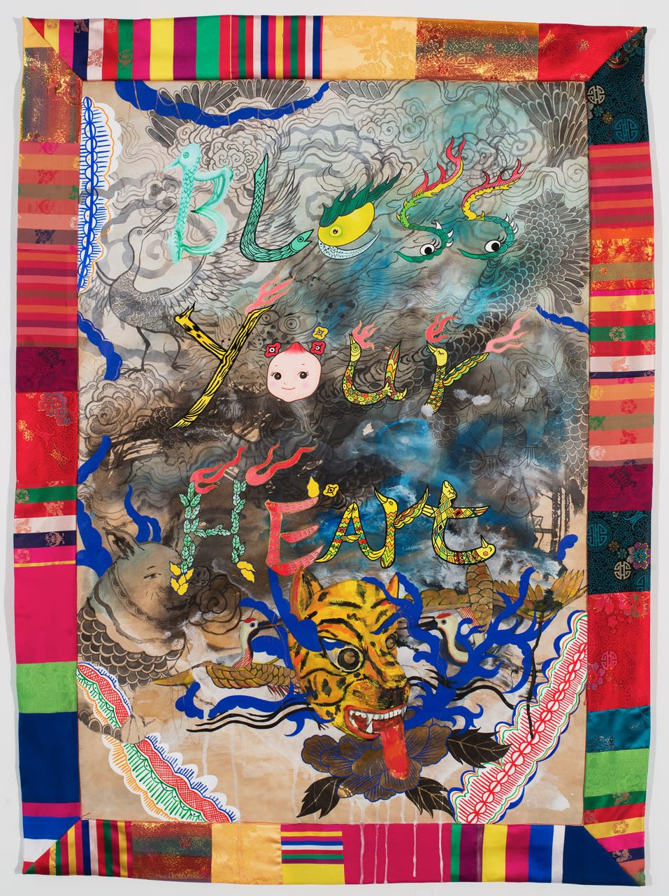 Jiha Moon, Bless your Heart, 2014 Ink and acrylic on Haniji paper, quilted border, 39 x 28 1/2 in