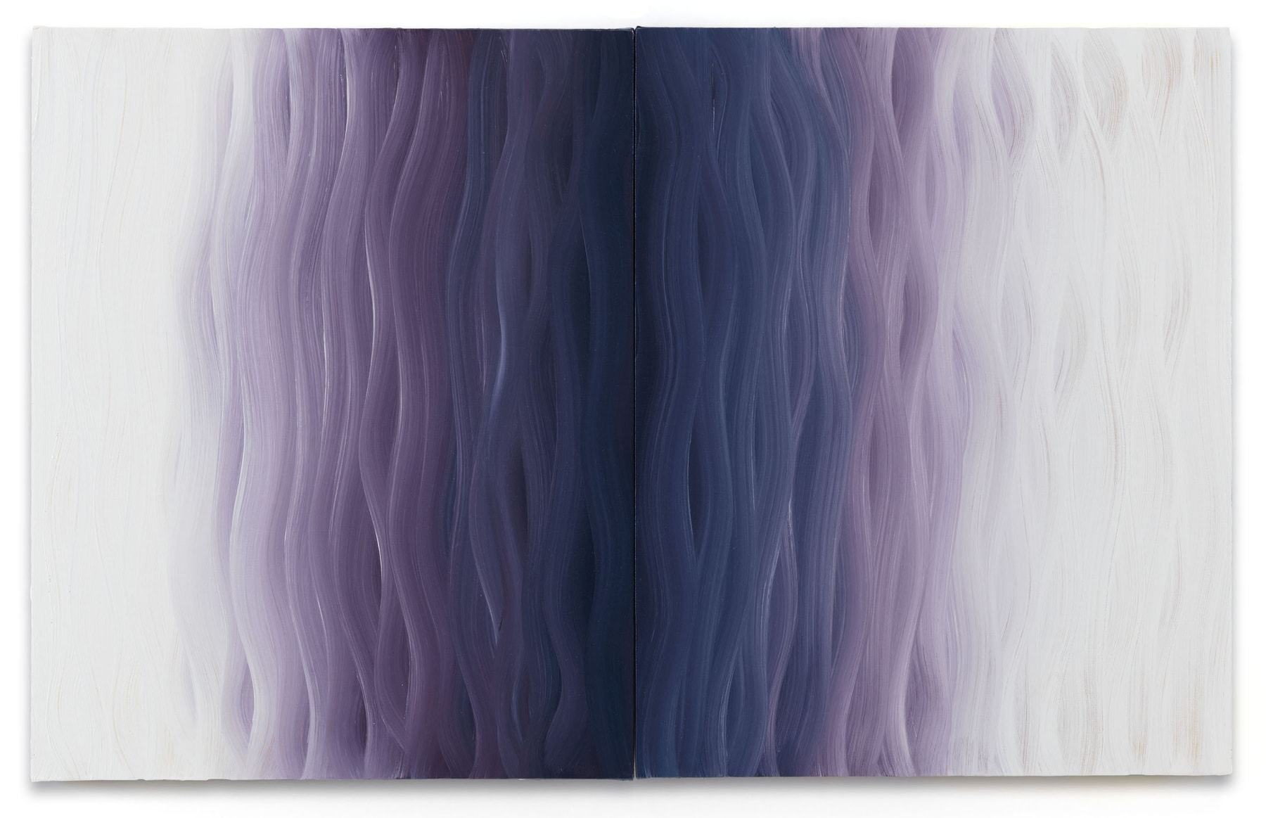 OLGA SOBAKINA CHOOSES: KARIN DAVIE, SIDE EFFECTS NO. 3, 2018 I like this work because you can see the brush strokes and the fact that it is diptych adds to the depth in the center. It reminds me of waves on an ocean transitioning from beach to the deep abyss in the center. The transition from the deep blue in the middle to the purple color is super mesmerizing. The white on the sides makes these waves feel like they can go on forever. Whenever the work is hanging in the gallery you can see hints of yellow on the sides of the canvas. It's a nice bright pop of color that is not very apparent from a straight-on image. Karin Davie Side Effects no. 3, 2018 diptych oil on canvas over panel, each panel 20 x 16 inches 20 x 32 in (50.8 x 81.3 cm) KD 33 $18,000