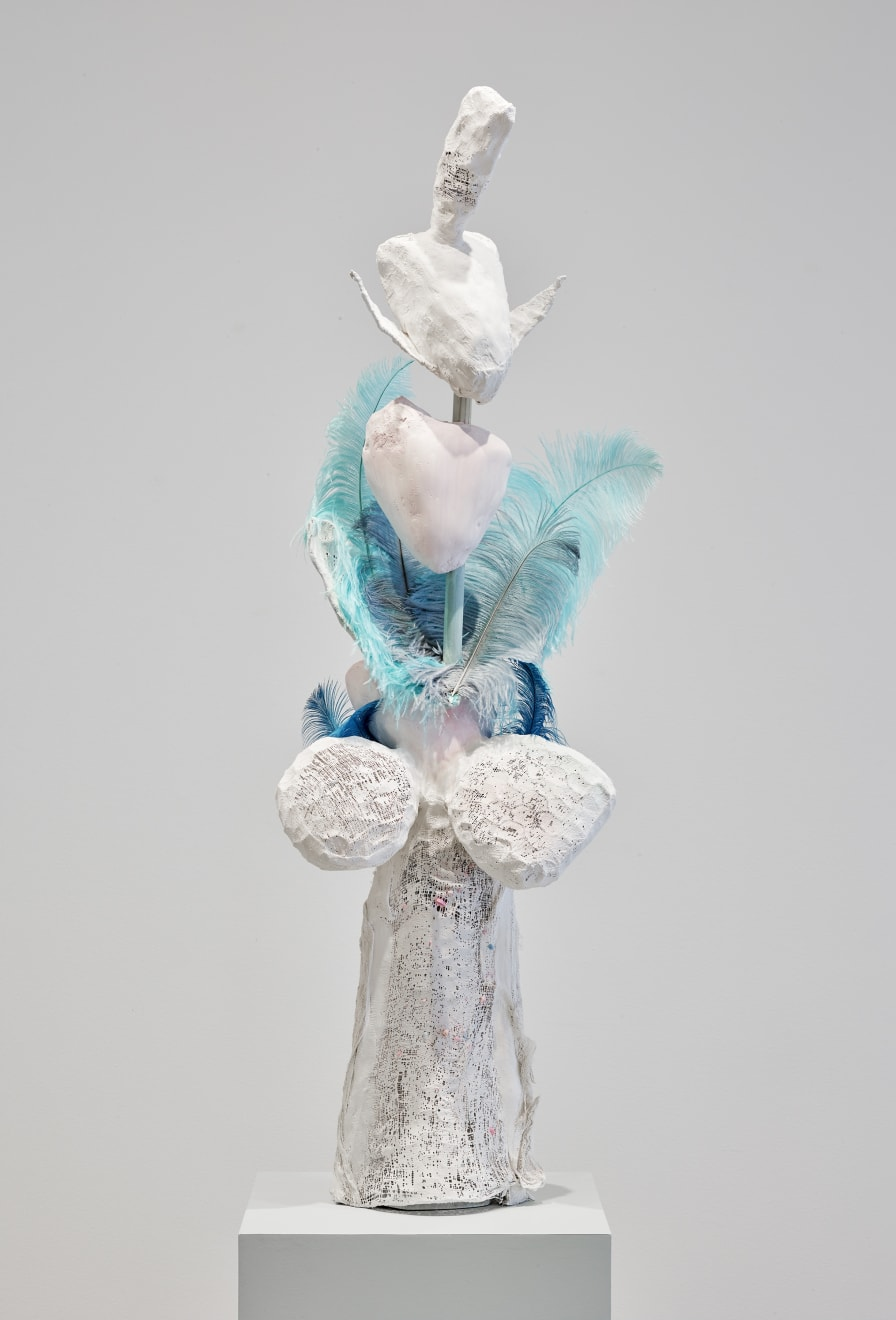 Katrina Moorhead, tree full of love, 2019 Liquistone, acrylic paint, feathers, chicken wire, pine, MDF, 87 x 18 x 18 in