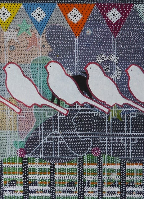 Glenn Goldberg, Siblings, 2017 acrylic and ink on canvas, 22 x 16 in