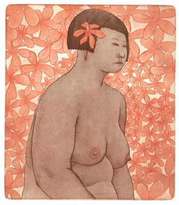 Damon Kowarsky Island Girl Copper Plate Etching and Aquatint Limited Edition 14 30 x 26 cm $400 £200