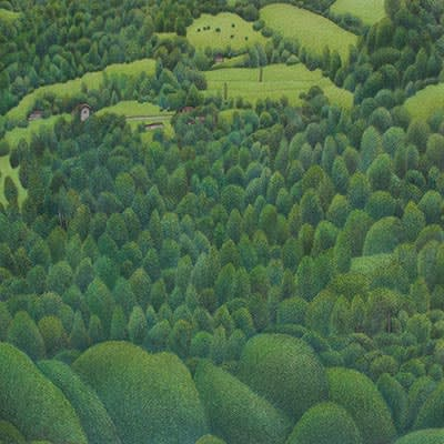 Damon Kowarsky The Hills At Studenica Ink, Water Colour and Colour Pencil on Board Original 51 x 51 cm $1800 £900