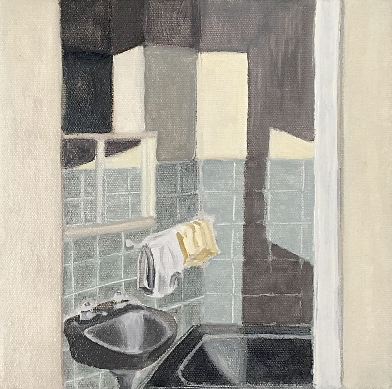 Elynor Smithwick Bathroom At Night Oil on Canvas Original 20 x 20 cm $750 £375 SOLD