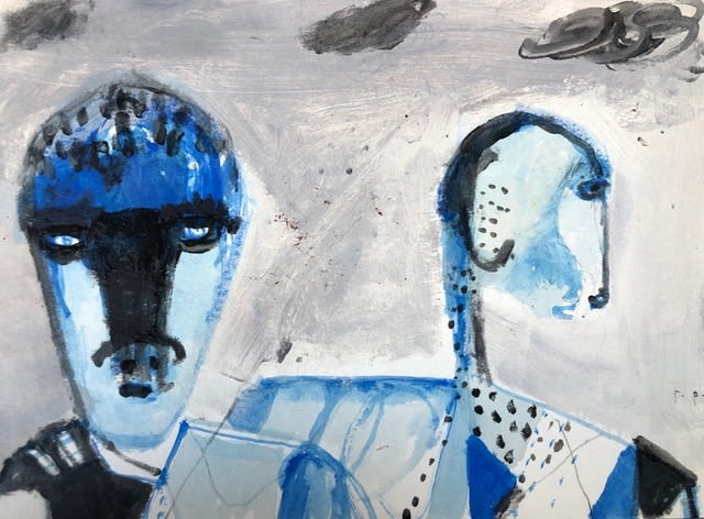 George Raftopoulos Conversation Watercolour, Crayon and Ink on Paper Original 23 x 17 cm $660 £330 SOLD