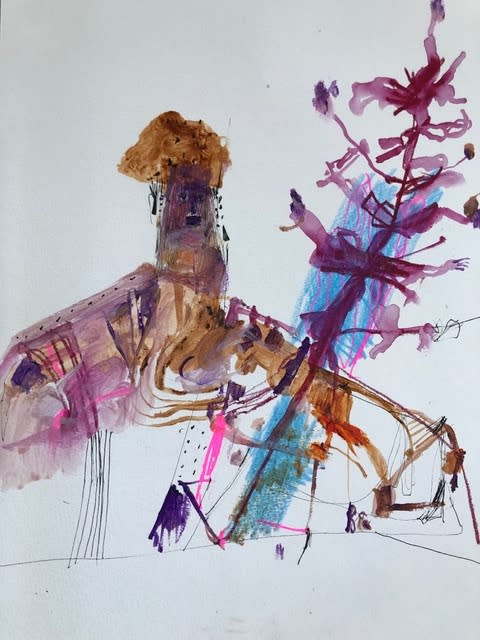 George Raftopoulos In Bloom Watercolour, Crayon and Ink on Paper Original 21 x 30 cm $800 £400 SOLD