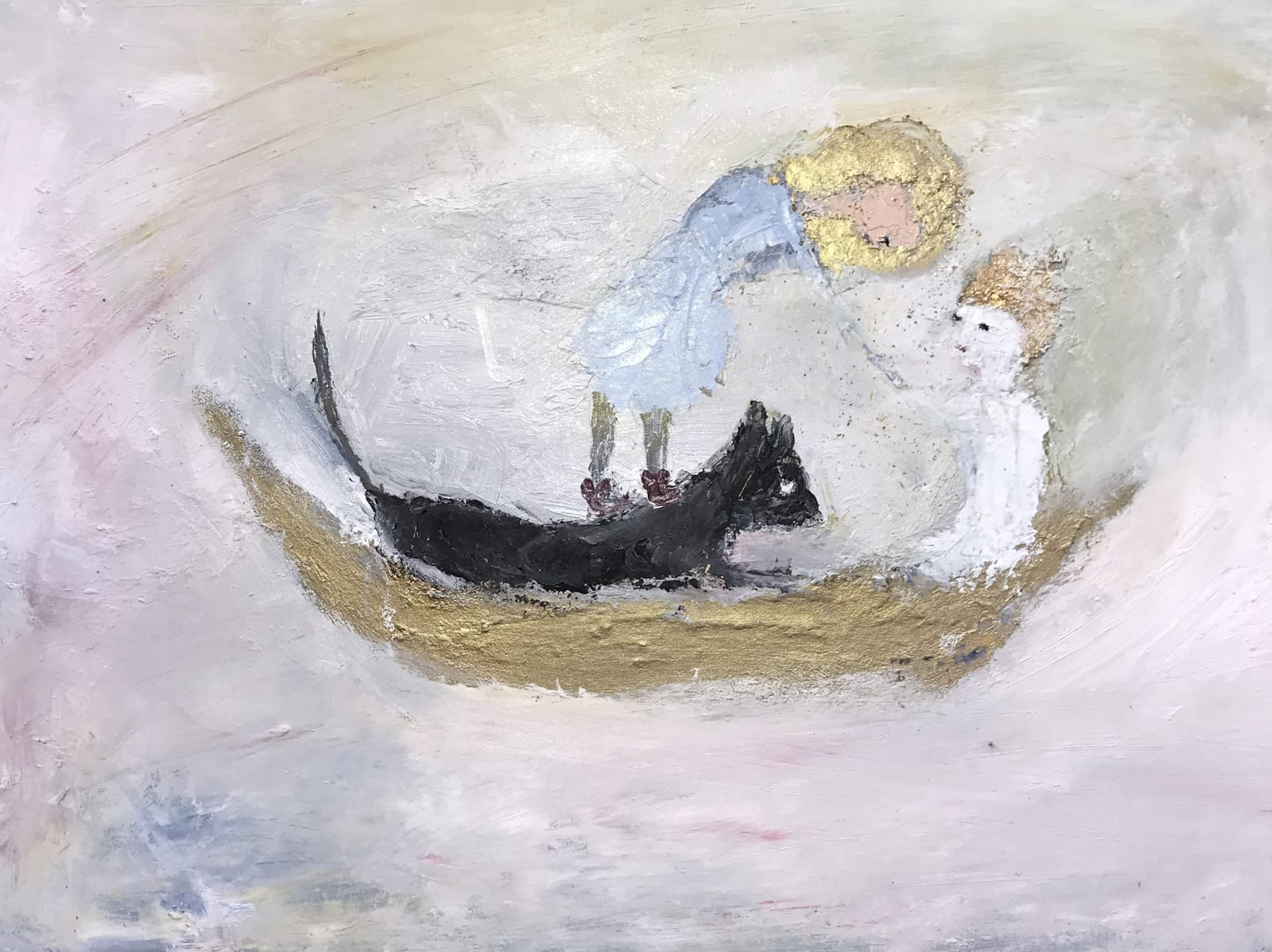 Hilary Herrmann A Measured Sea Oil on Canvas, Gold Leaf and Gold Pigment Original 60 x 45 cm $1800 £900 SOLD