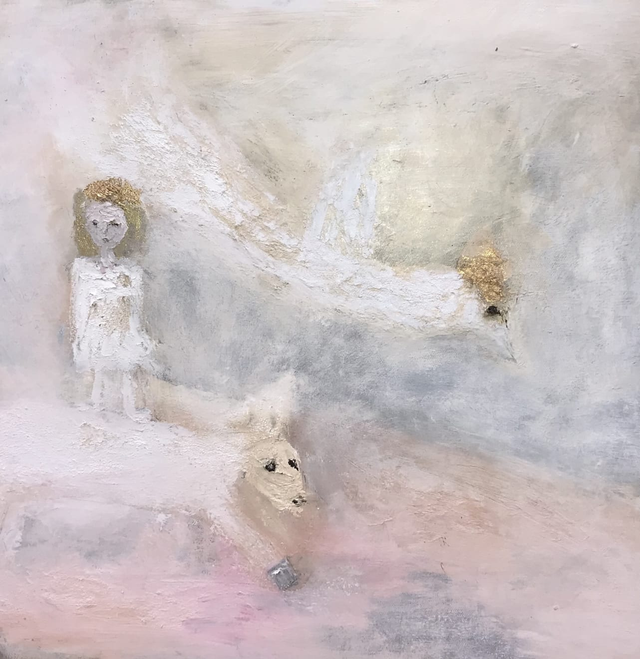 Hilary Herrmann A Simple Creed Oil on Canvas, Gold Leaf and Gold Pigment Original 45 x 45 cm $1800 £900