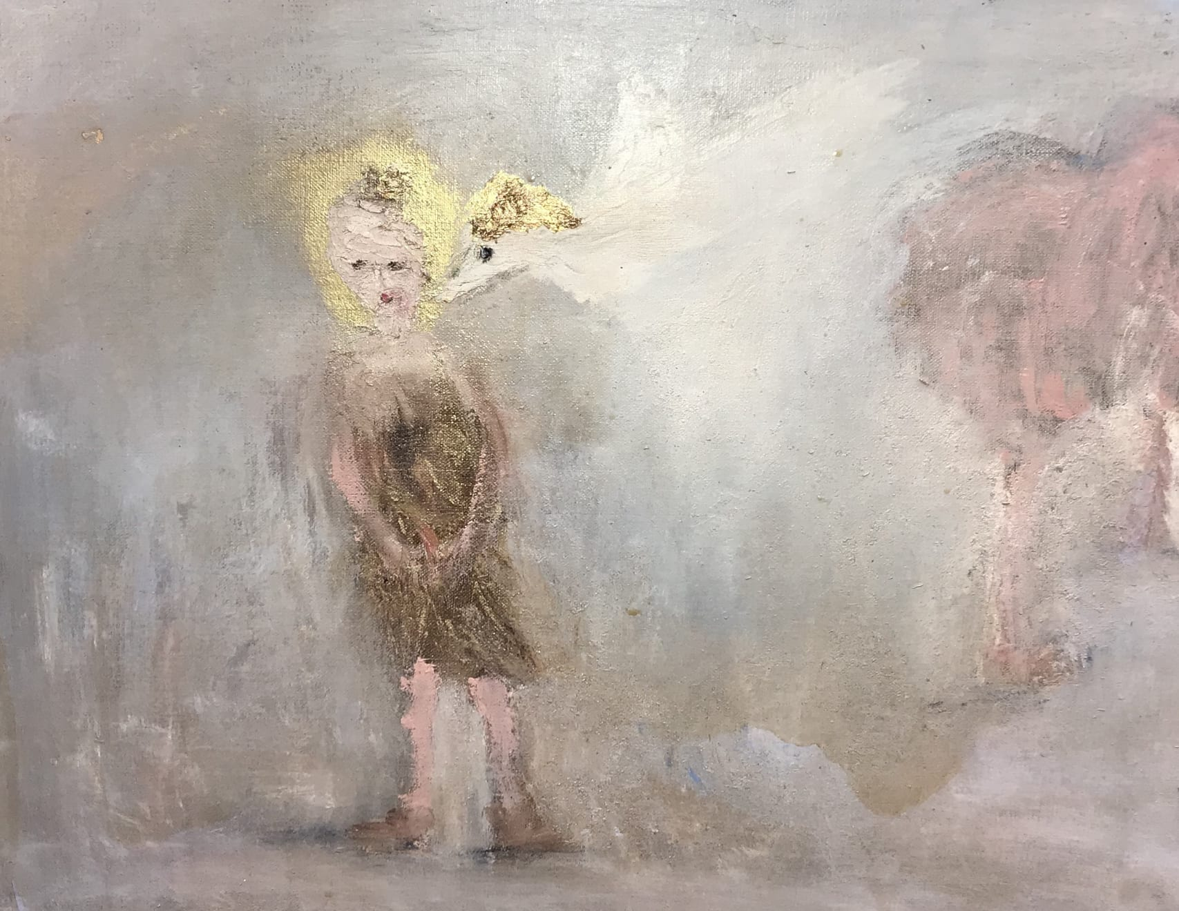 Hilary Herrmann Morning Calm Oil on Canvas, Gold Leaf and Gold Pigment Original 50 x 45 cm $1800 £900