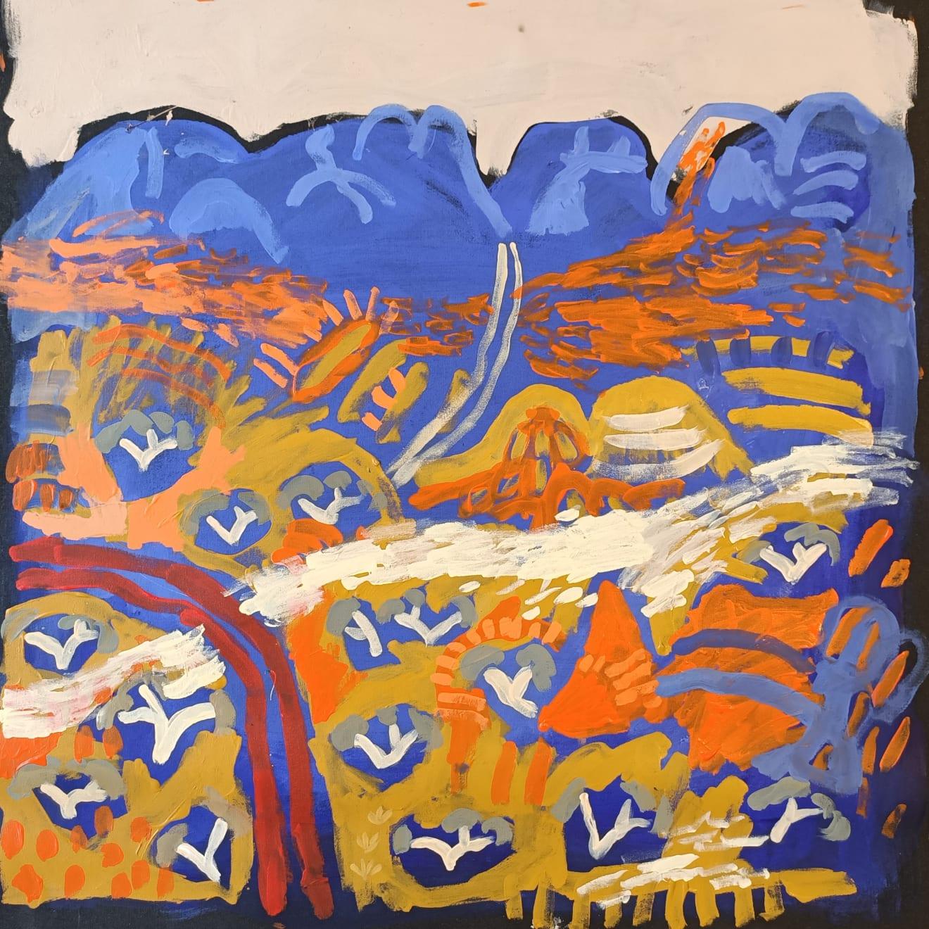 Zak Tilley Rare Rain in Papunya Acrylic on Canvas Original 60 x 60 cm $800 £400 SOLD