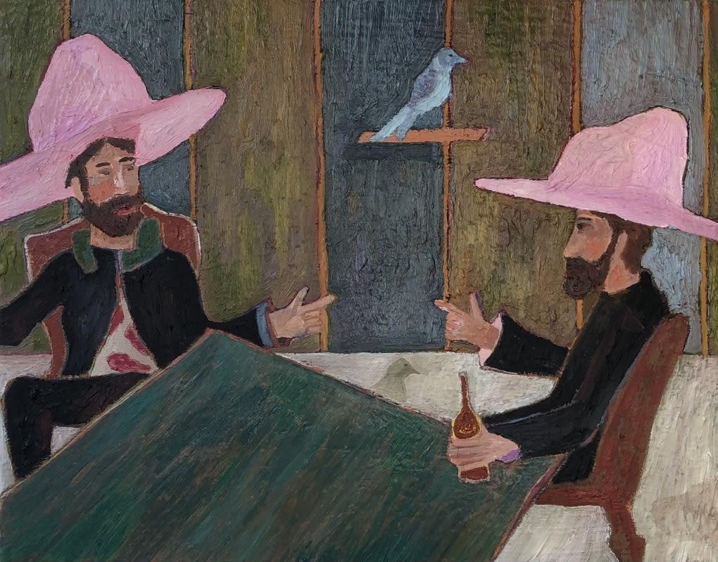 Ben Crase Nick's Blue Bird Oil and Oil Stick on Canvas Original 35 x 28 cm $1300 £650 SOLD