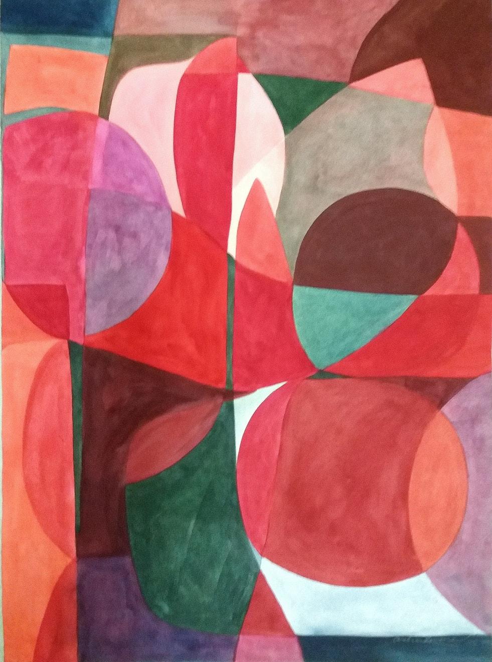 Jeux De Roses Et Verts Caséine and Arabic Gum on Paper Original 78 x 106 cm $4390 SOLD