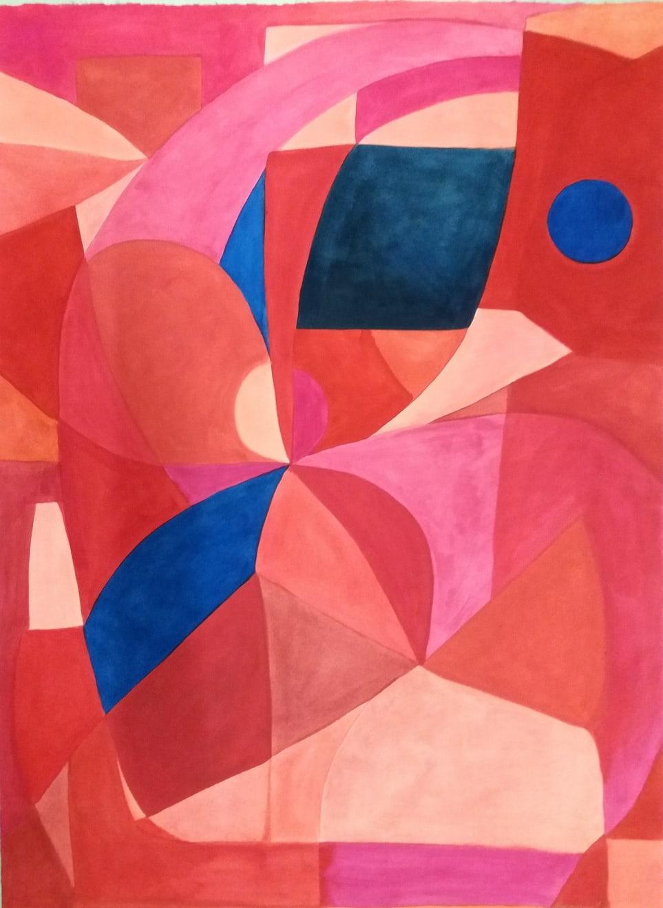 Lune Bleue Dans Une Fleur Rose Et Rouge Caséine and Arabic Gum on Paper Original 78 x 106 cm $4390 SOLD