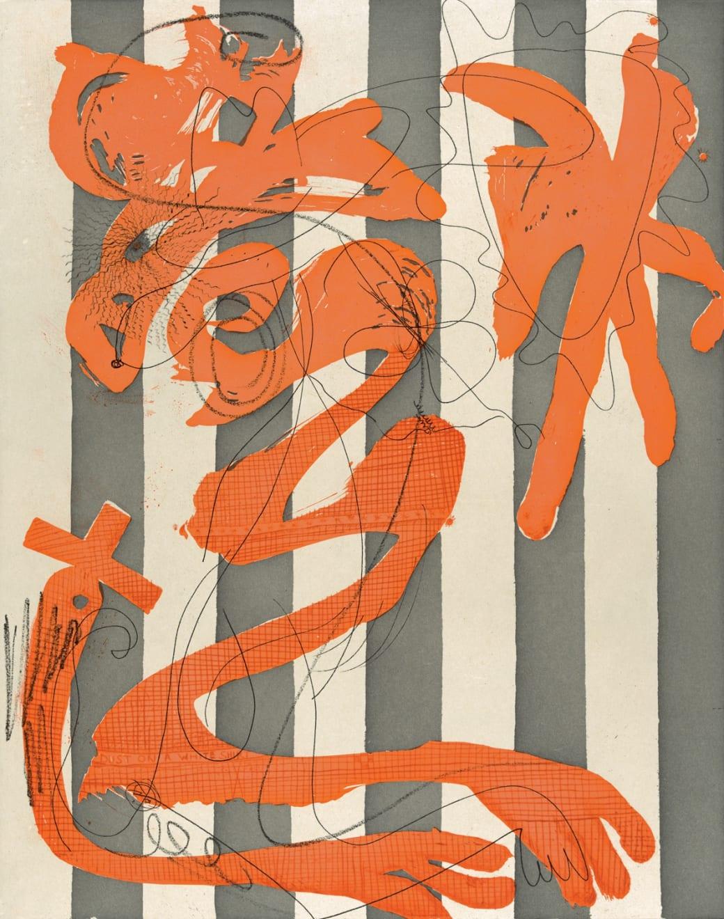 Charline von Heyl, Dust on a White Shirt (Stripes), 2014