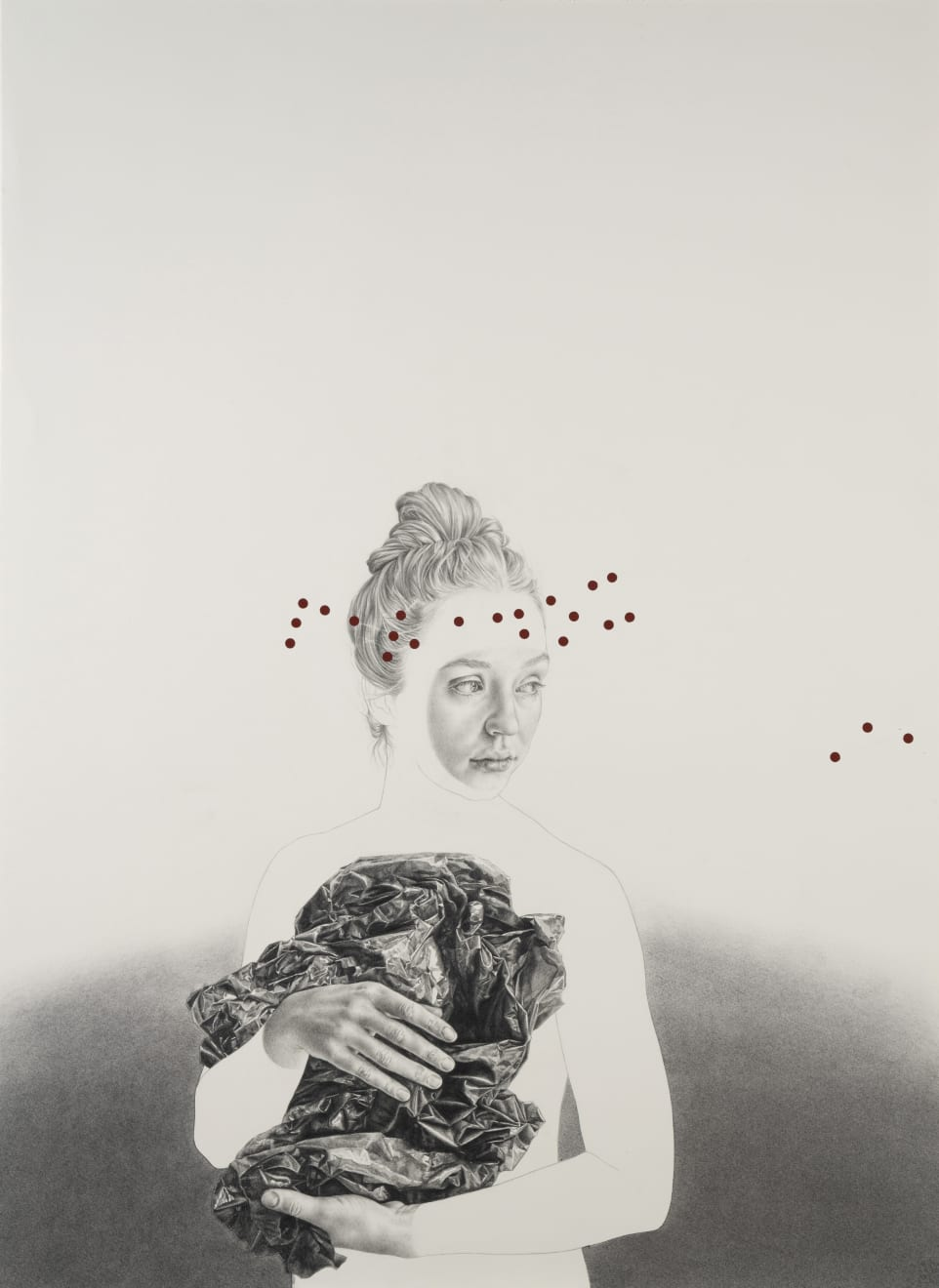 Information paradox, Pencil, acrylic and charcoal on deckle edge Saunders waterford paper, 56cm x 76cm