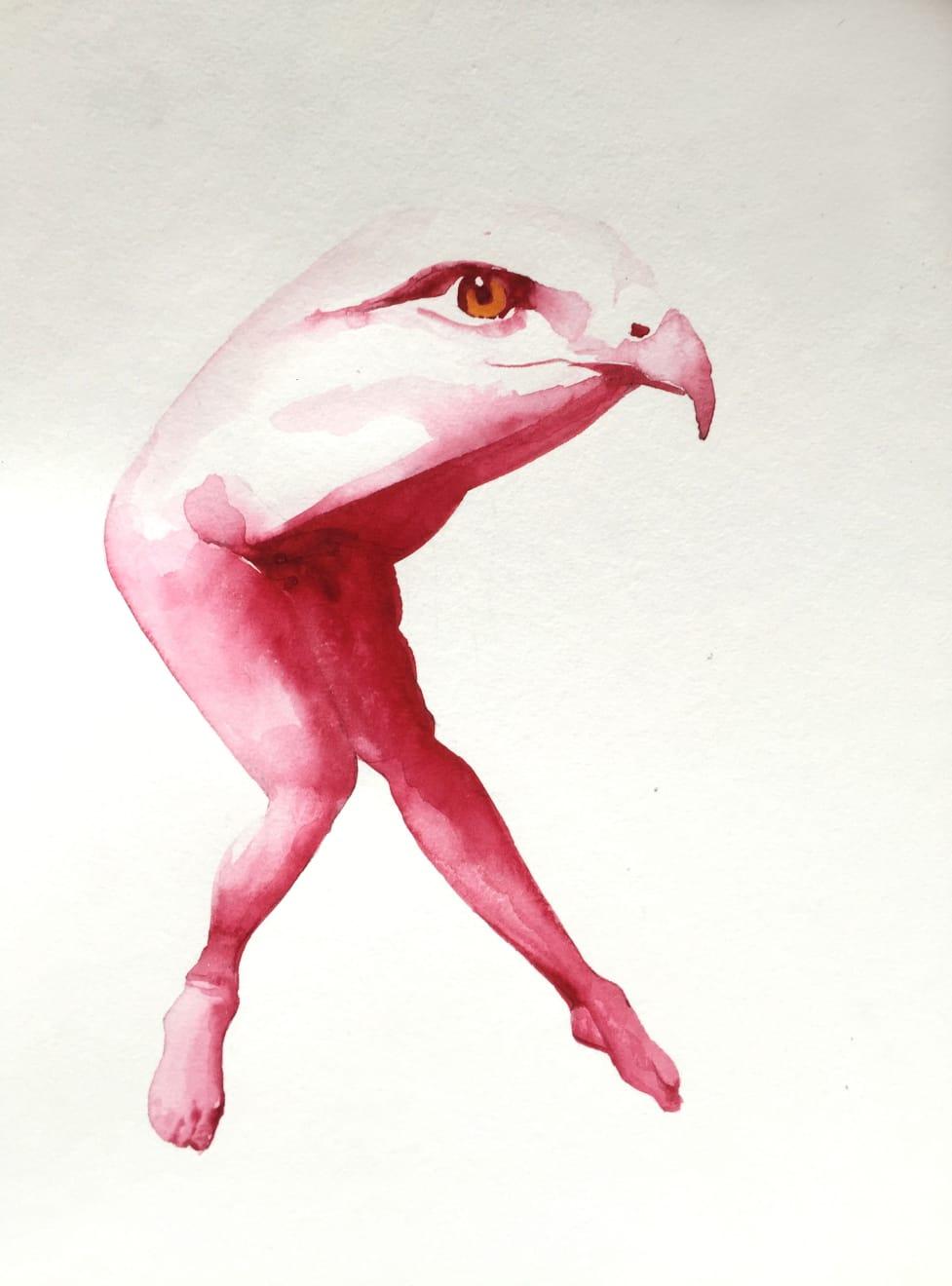 Kirsty Whiten, Eagle, 2019, Watercolour, 35 x 25 cm