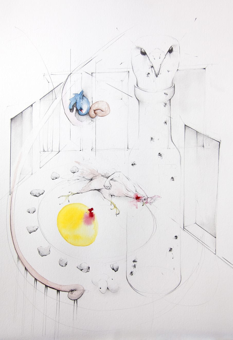 Kirsty Whiten, Intuiative Drawing (Dream Birds), 2019 Pencil and watercolour on paper, 42 x 56 cm