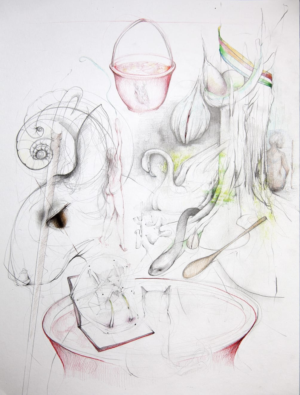 Kirsty Whiten, Intuiative Drawing (Chantal), 2019 Pencil and watercolour on paper, 42 x 56 cm