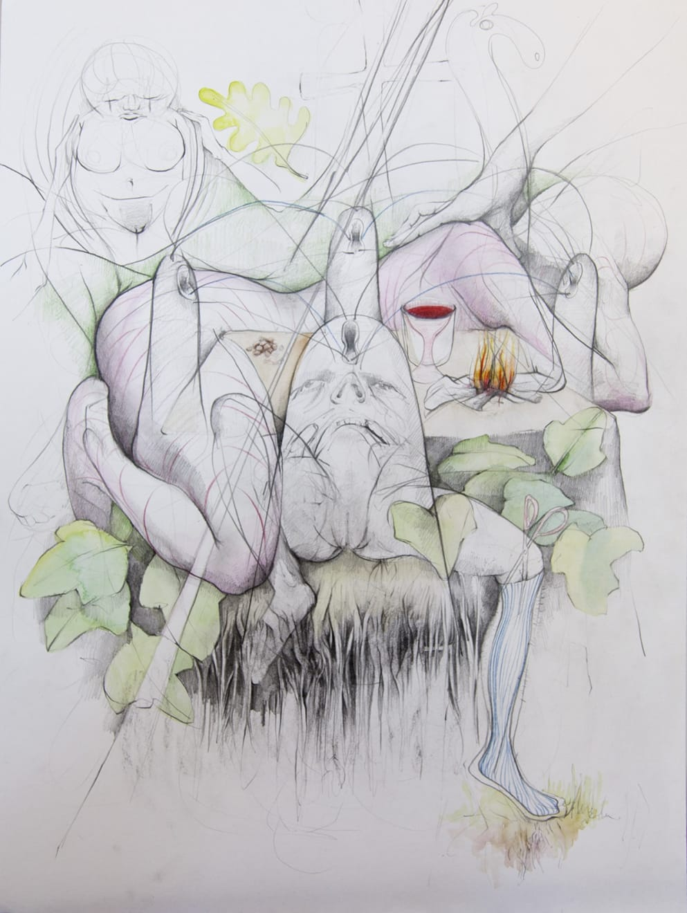Kirsty Whiten, Intuiative Drawing (Lindsay), 2019 Pencil and watercolour on paper, 42 x 56 cm