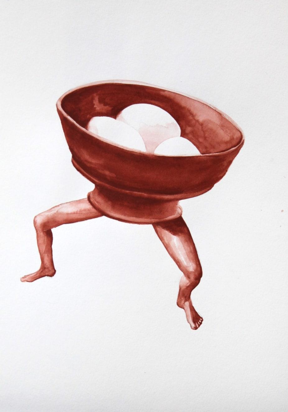 Kirsty Whiten, Stone Eggs in Chalice, 2019, Watercolour, 35 x 25 cm