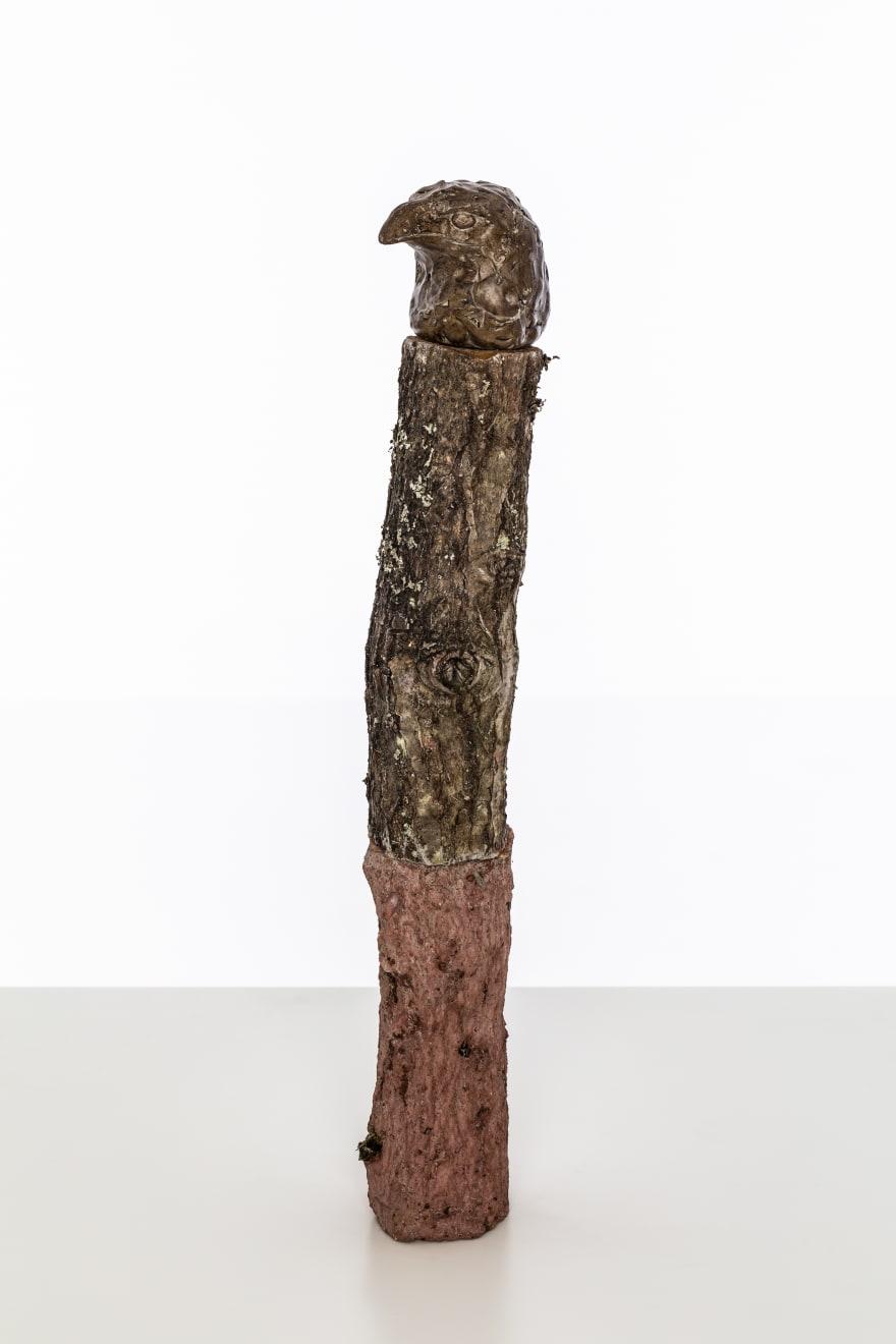 Chantal Powell, Totem II (Eagle) 2019 Unfired clay, wax polish, oak, concrete, pigment, lichen 47 x 9 x 8 cm