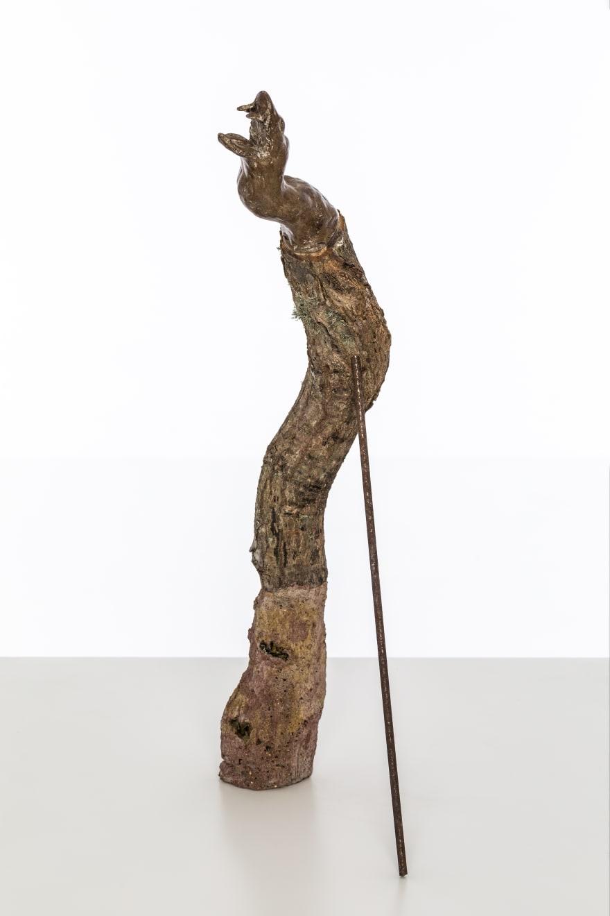 Chantal Powell, Totem III (Serpent) 2019 Unfired clay, wax polish, oak, concrete, pigment, steel, rust, lichen 60 x 8 x 15 cm