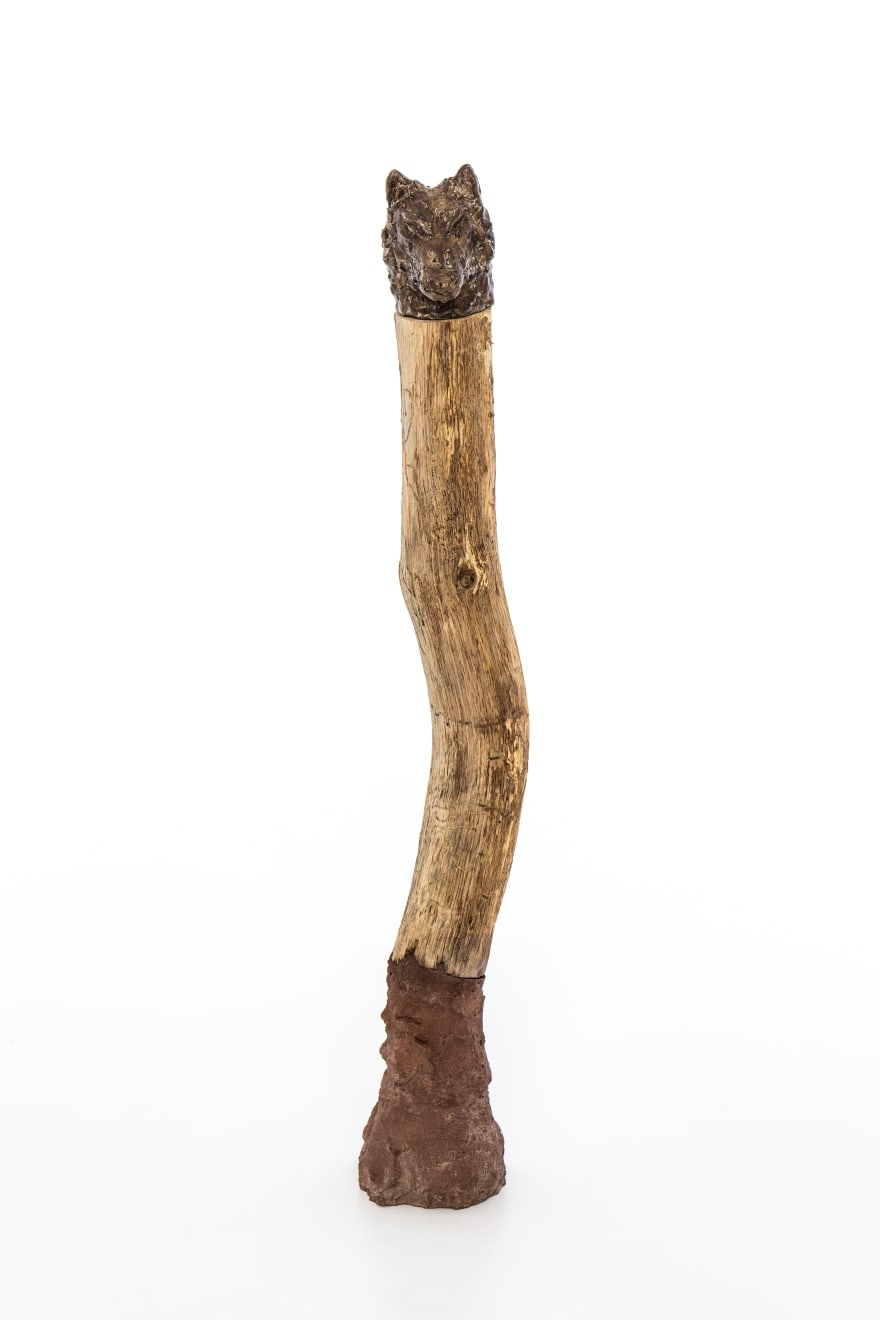 Chantal Powell, Totem IV (Wolf) , 2019 Unfired clay, wax polish, oak, concrete, pigment, lichen 75 x 12 x 12 cm