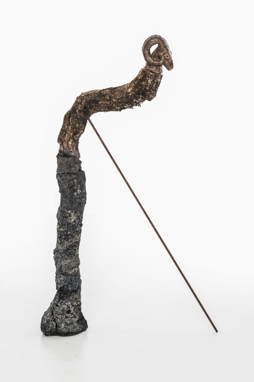 Chantal Powell, TotemV (Ram) 2019 Unfired clay, wax polish, oak, concrete, pigment, steel, rust, lichen 85 x 30 x 15 cm