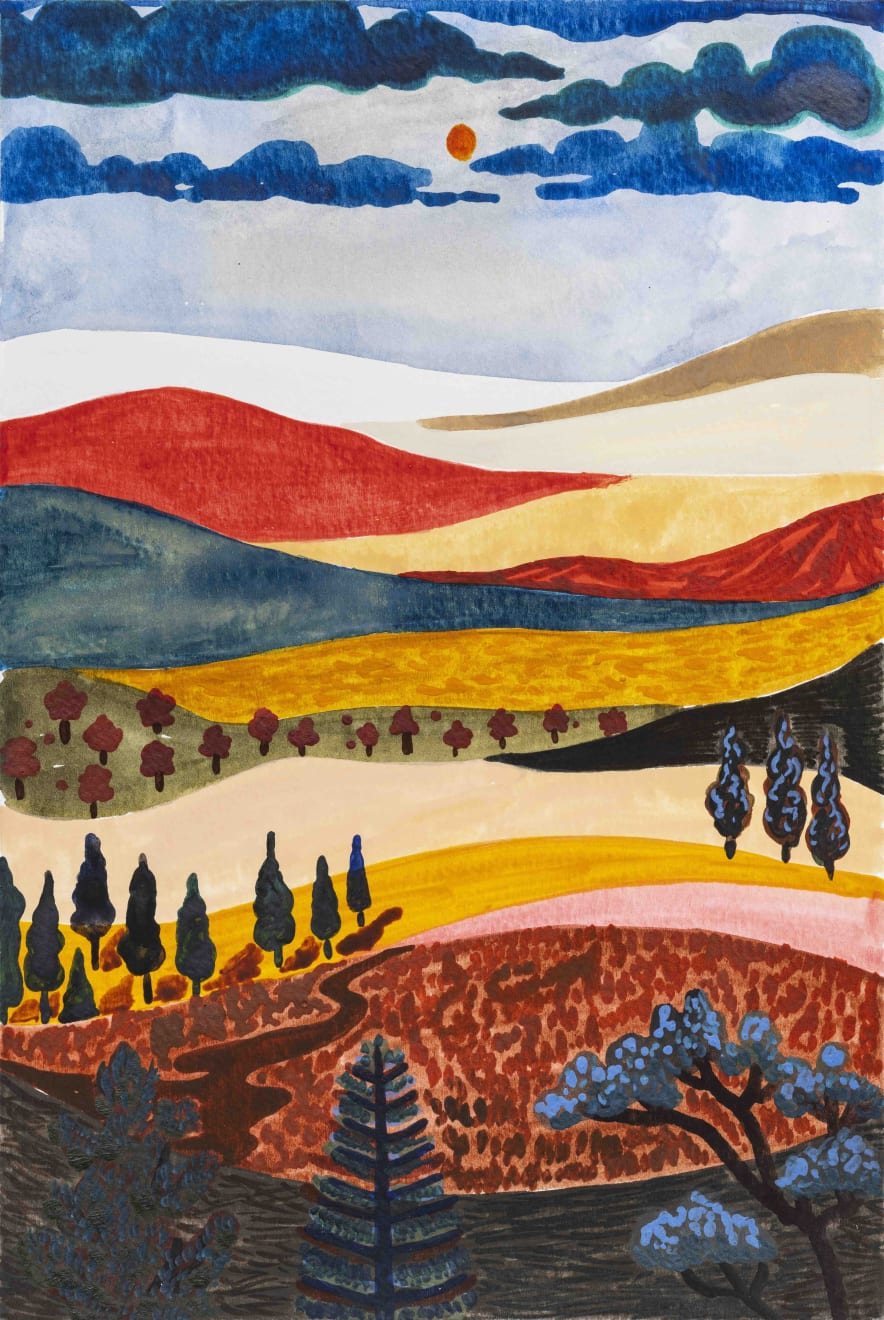 HILLS OF HONEY, 2021 wATERCOLOUR AND GOUACHE ON PAPER 22.5 X 15 CM