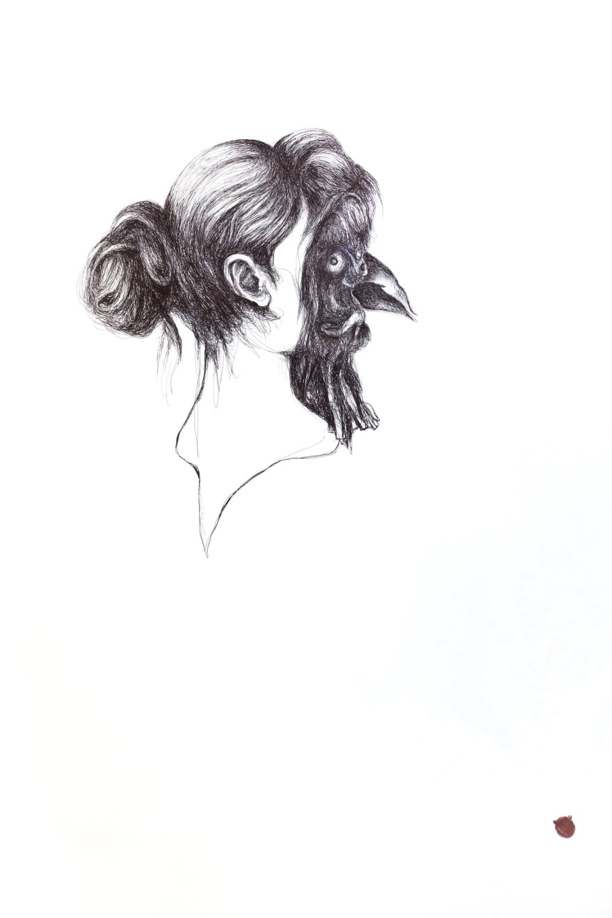Tom Poeet Untitled (Girl with Mask) Signed on recto Biro pen on paper 39 3/8 x 27 1/2 in 100 x 70 cm (TPO003)
