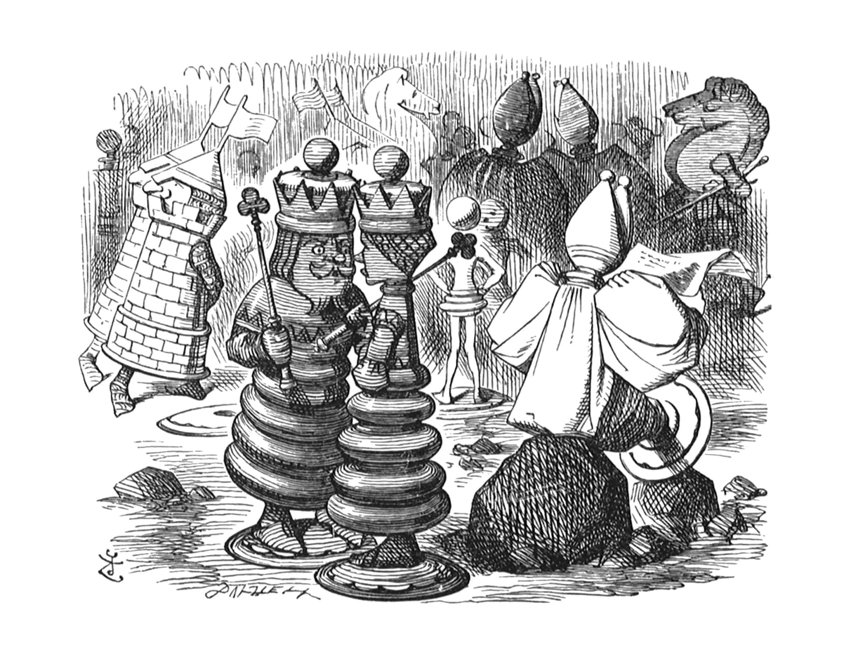 Summer Auction 2020, LOT 134 - John Tenniel - 'The Chessmen were walking about, two and two!', 1988