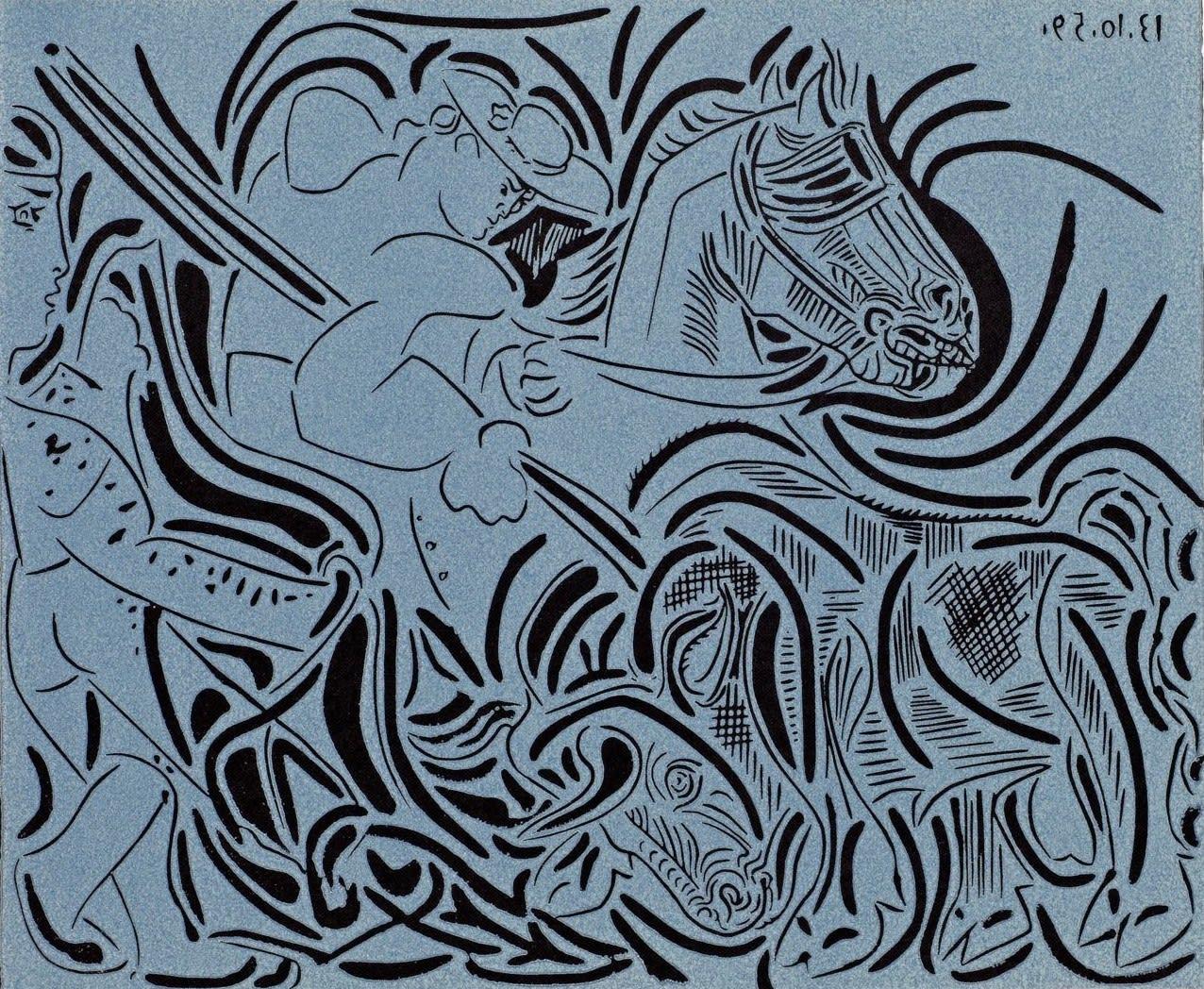 Pablo Picasso, Picador Goading Bull (White), 1962