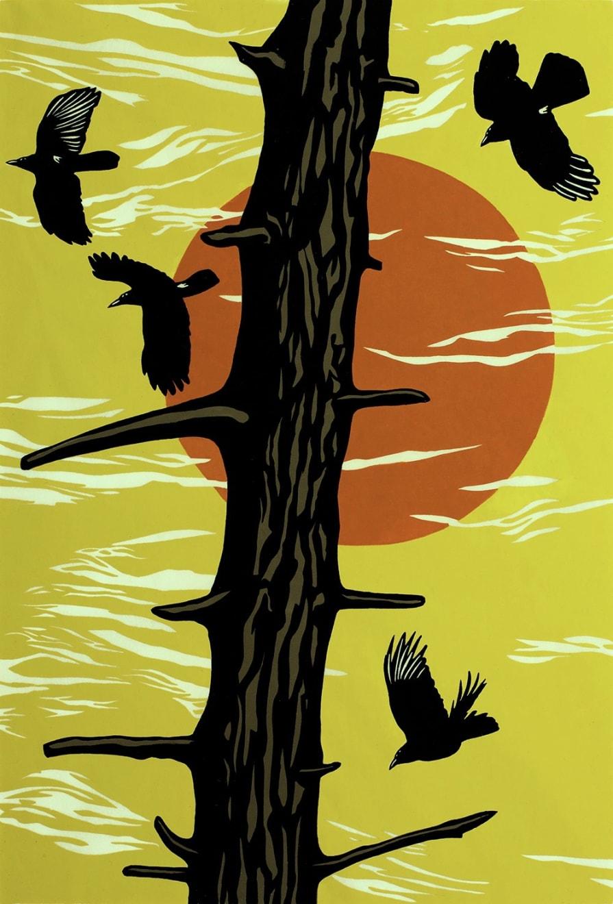 Summer Auction 2020, LOT 87 - Paul Hogg - 'Crows, Tree, Sun (burnt orange sun)', 2013