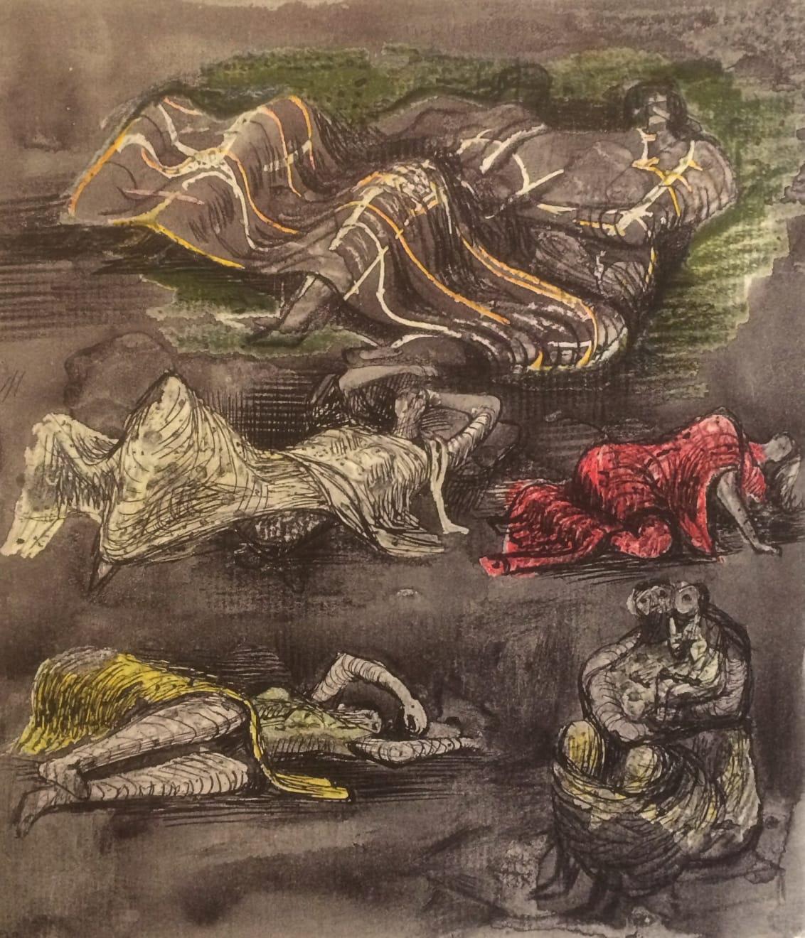 Henry Moore, Untitled XXXV (Shelter Sketchbook) , 1967