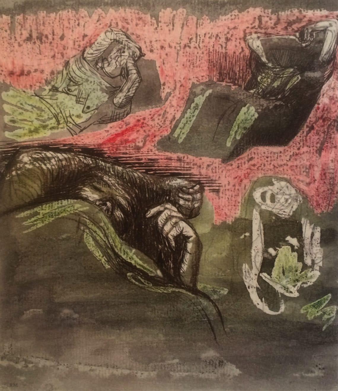 Henry Moore, Untitled LXXV (Shelter Sketchbook) , 1967