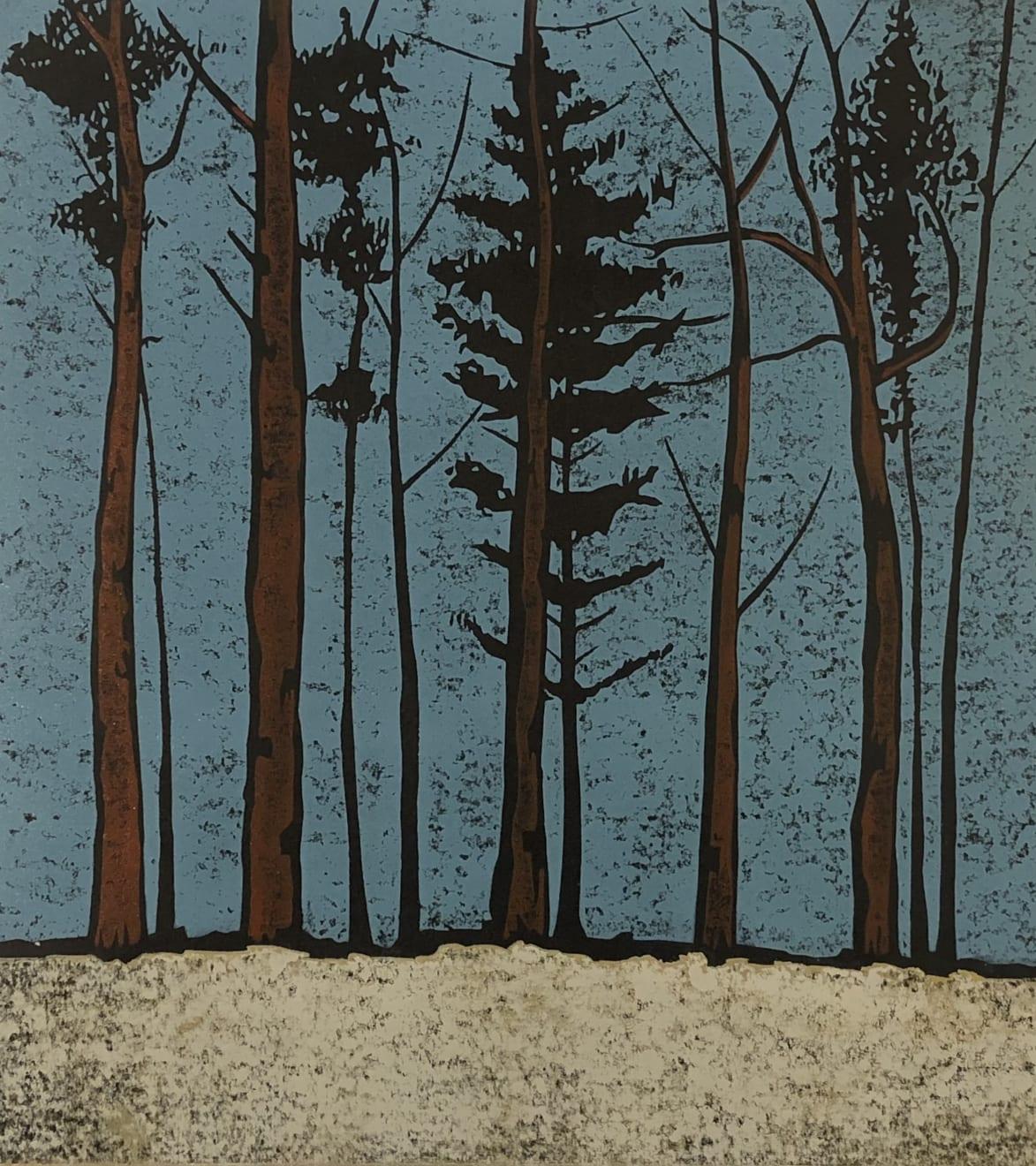 Paul Hogg, A Line of Trees (blue sky), 2016
