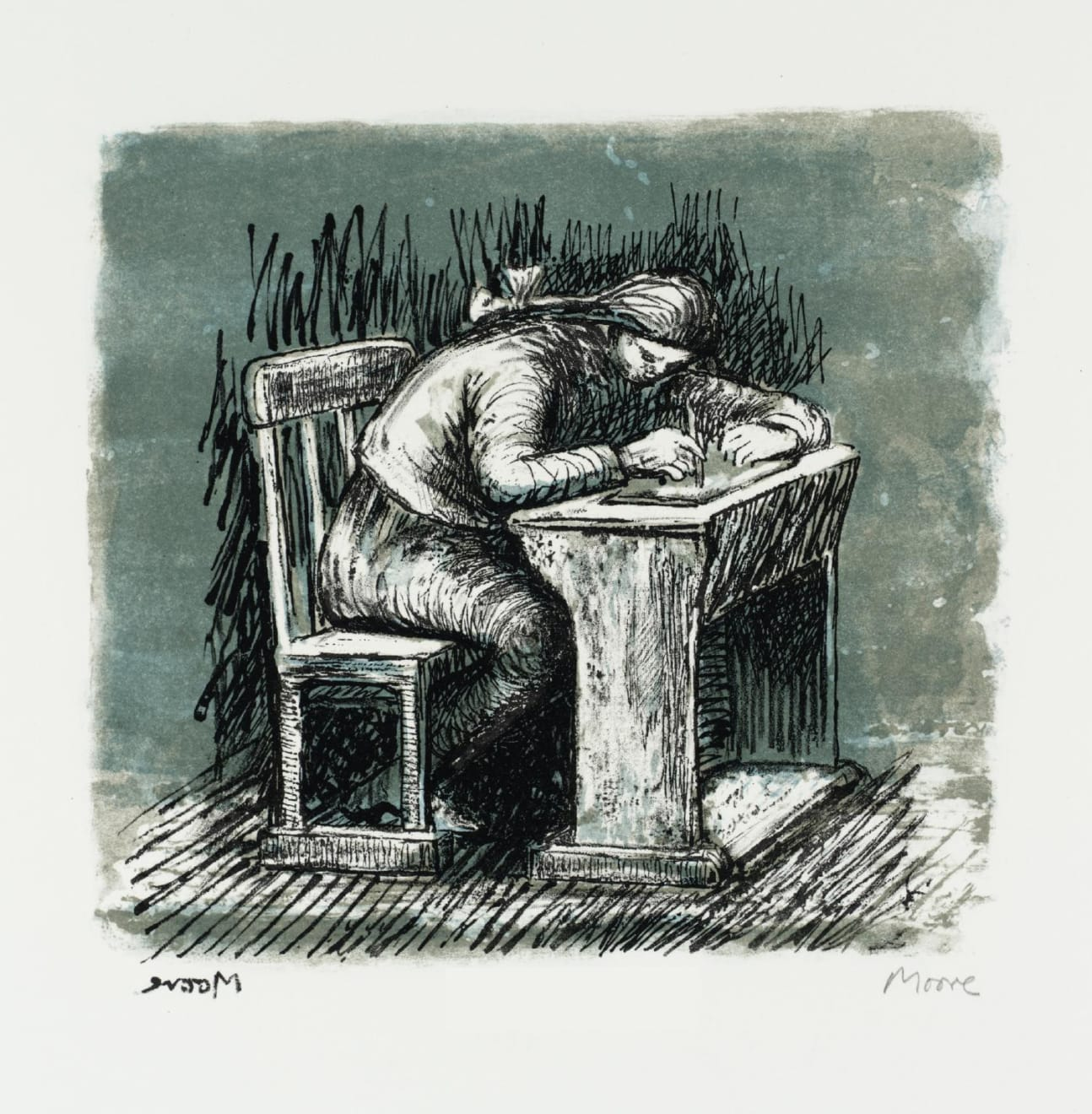 Henry Moore, Girl Seated at Desk VI, 1974