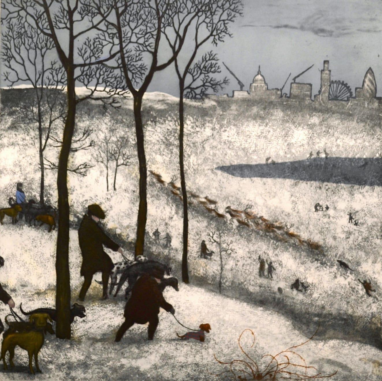 Mychael Barratt, Richmond Park - Winter, after Bruegel, 2019