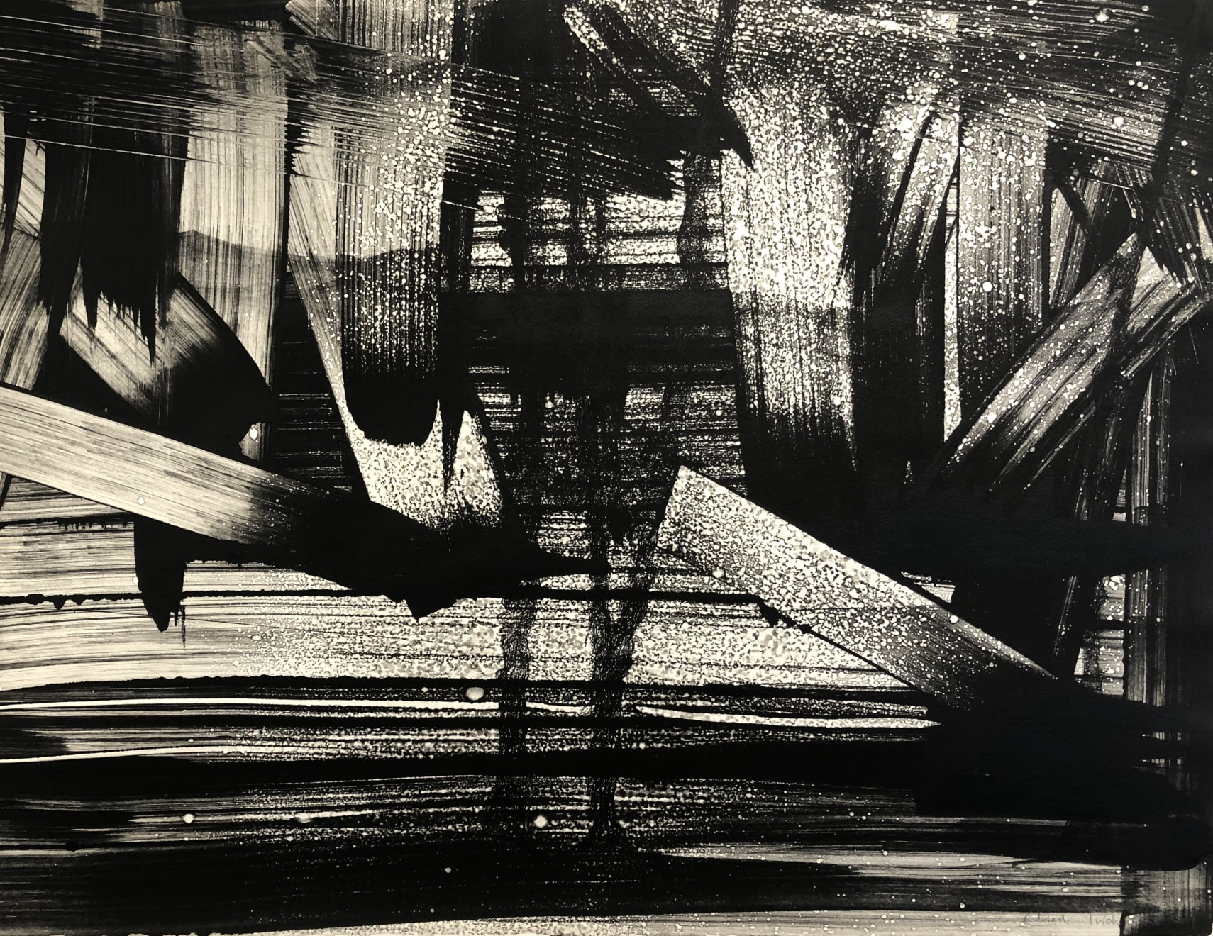 Edward Twohig, Thinking of Pierre Soulages in Wiltshire (Chisbury Storm), 2019