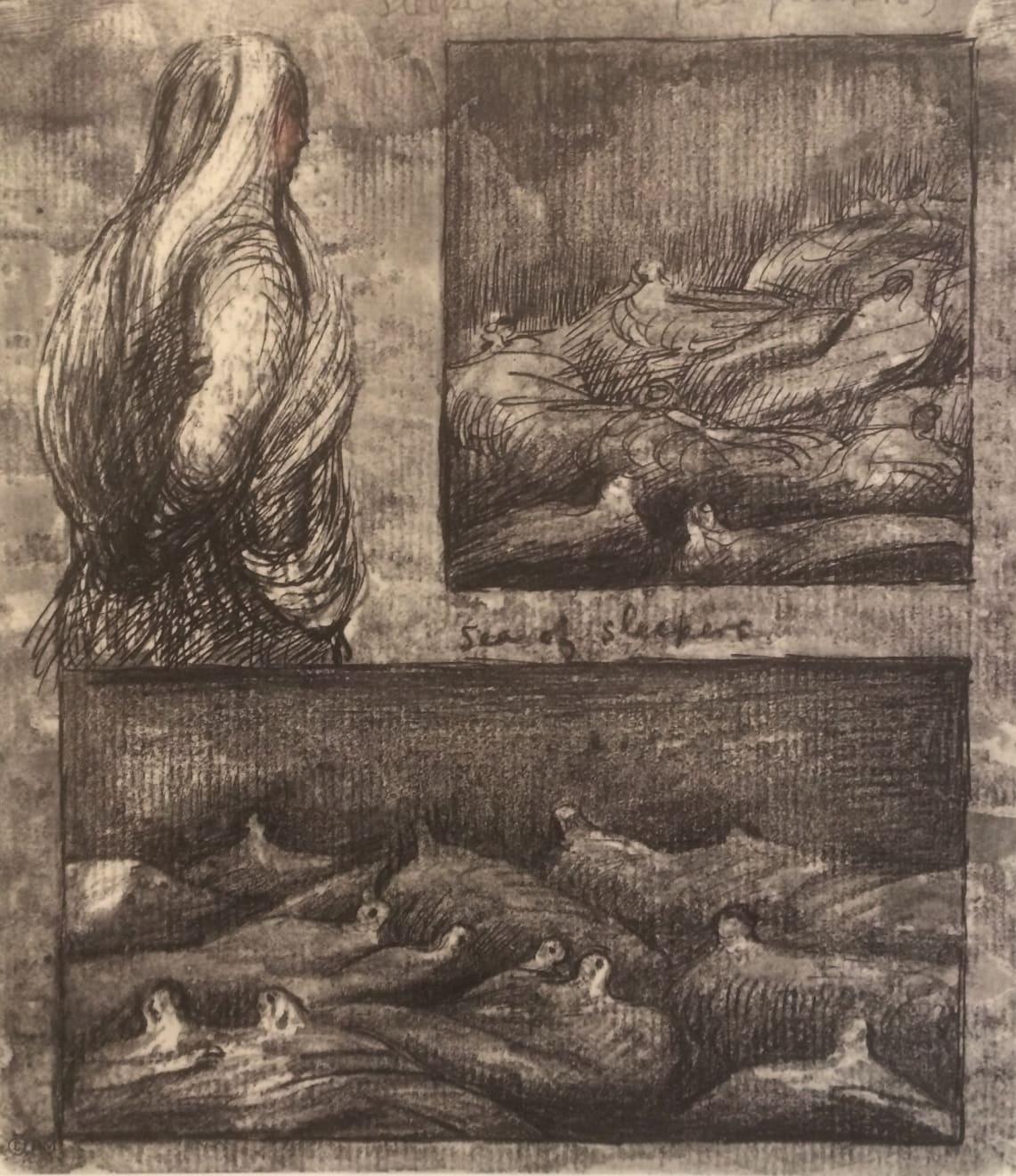 Henry Moore, Untitled XXXVI (Shelter Sketchbook), 1967