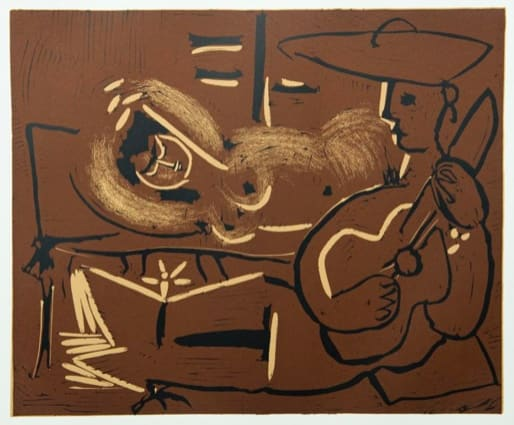 Pablo Picasso, Reclining Woman and Guitar Player, 1962