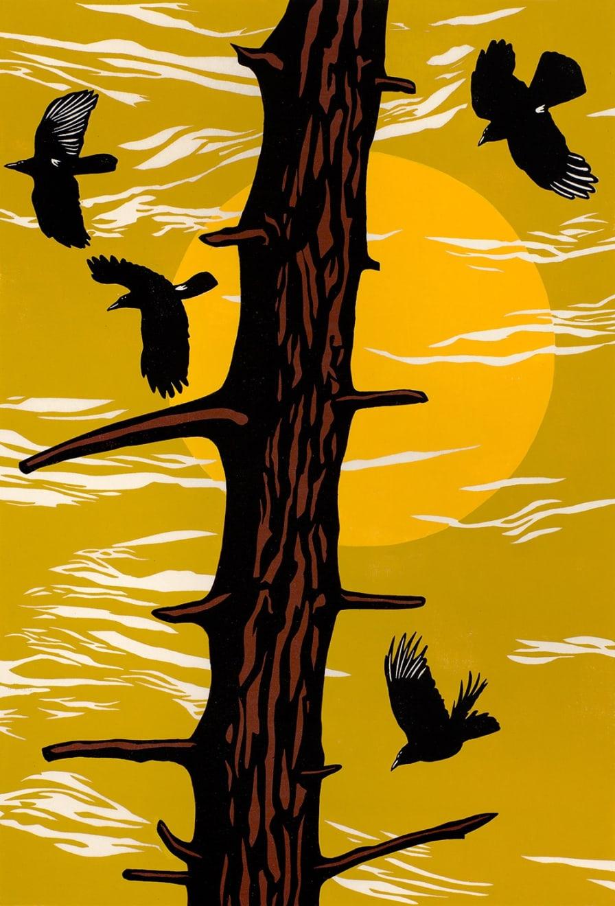 Summer Auction 2020, LOT 86 - Paul Hogg - 'Crows, Tree, Sun (yellow), 2012