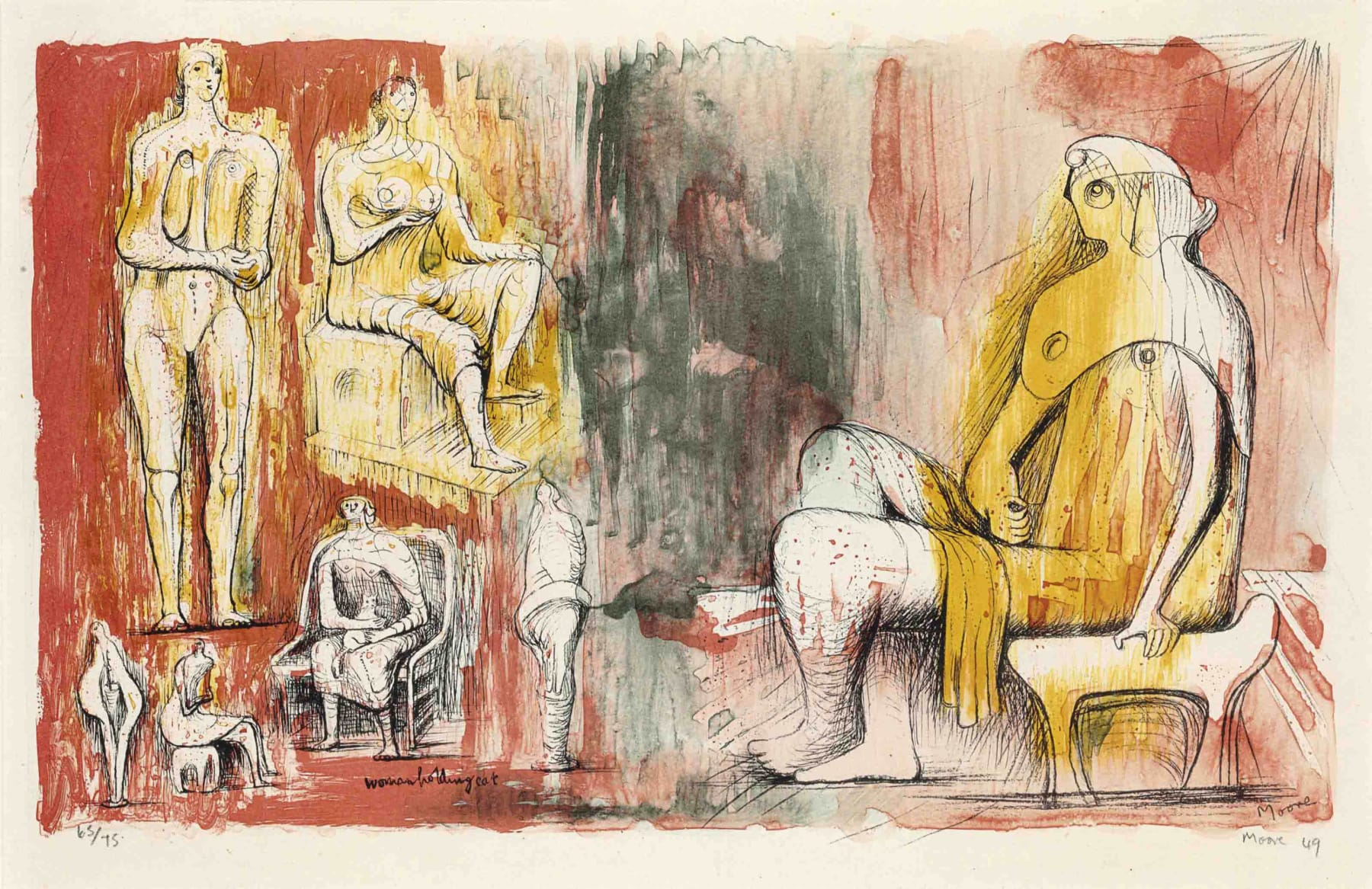 Henry Moore, Woman Holding a Cat, 1949