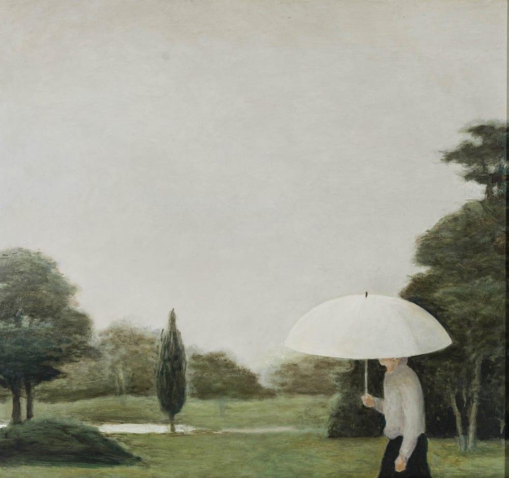 Koos van Keulen - De witte paraplu - 2019 - olieverf op paneel - 54 x 50 cm