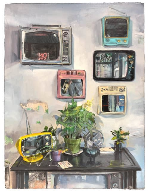 Isaiah Gulino - Perception Ponds - 2019 - oil & mixed media on panel - 23 x 30 cm