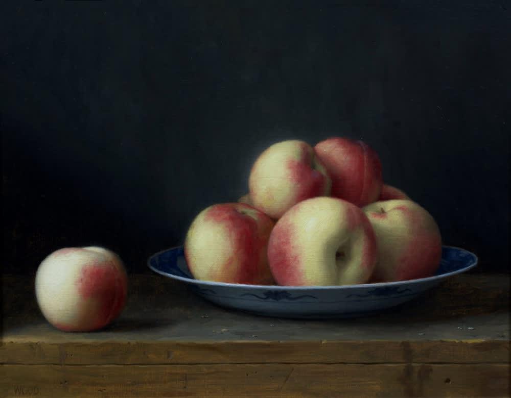 Justin Wood - White Peaches - 2019 - Olieverf op paneel - 28 x 35,5 cm
