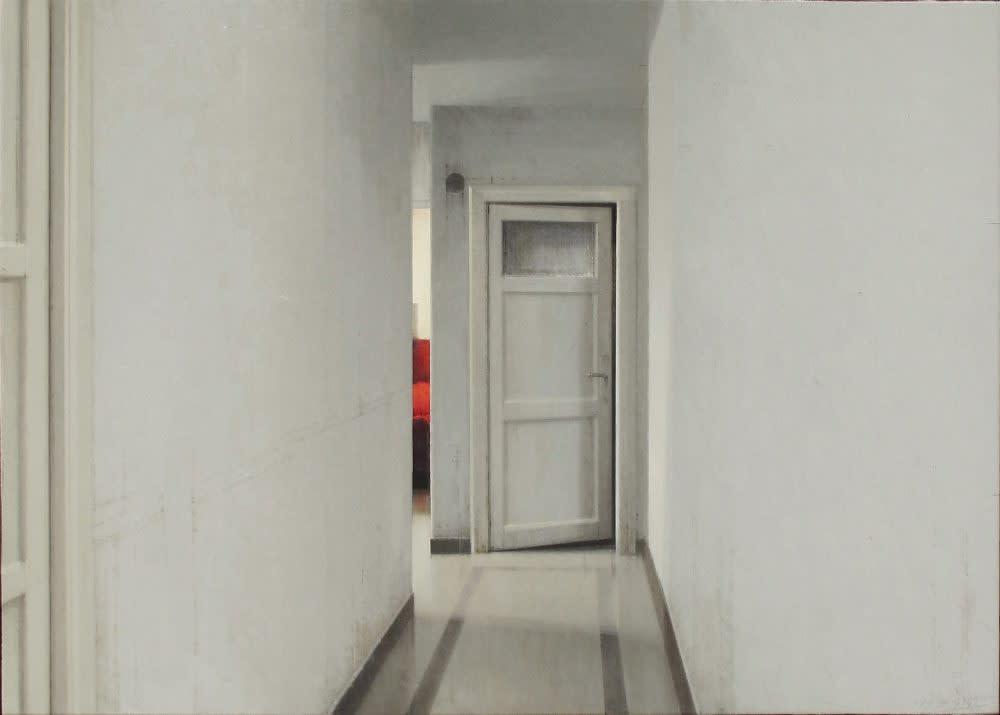 Carlos Morago - Sillon rojo - 2018 - olieverf op paneel - 50 x 70 cm