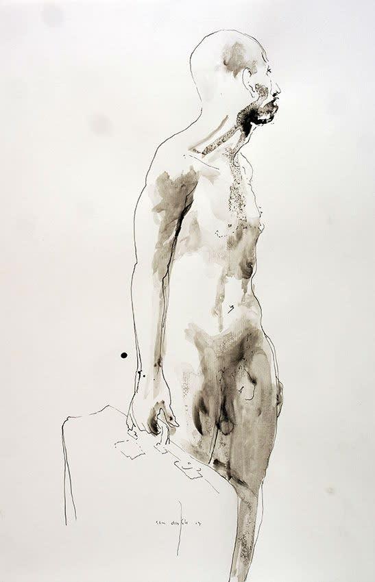 Sam Drukker - Studie Man met Koffer - 2017 - gewassen inkt op papier - 50 x 33 cm